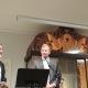 Ambassadør Raphael Schutz takker HJH for arbeidet. Jan Benjamin Rødner oversatte. Foto: HJH-Kontoret