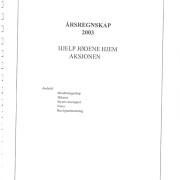 Hjelp Jødene Hjem Årsrapport, årsregnskap for 2003.
